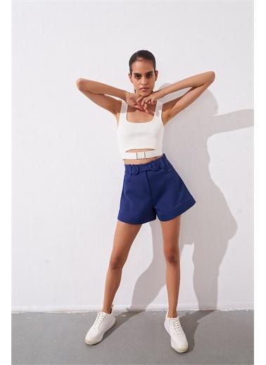 Rue Ekru Spor Kemer Detaylı Kısa Triko Bluz Ekru